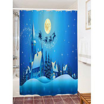 Christmas Moon Night Castle Printed Waterproof Shower Curtain - BLUE W71 INCH * L71 INCH