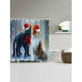Christmas Cat Partner Print Waterproof Shower Curtain - COLORMIX W59 INCH * L71 INCH