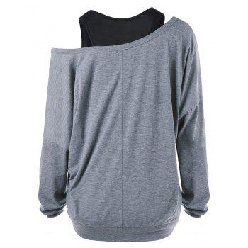 Ink Painting Print Plus Size Sweatshirt with Tank Top - GRAY 4XL