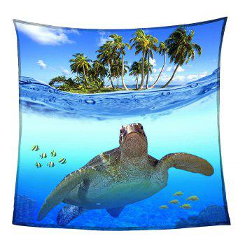 Sea Turtle Pattern Coral Fleece Sofa Blanket - BLUE W59INCH*L70INCH
