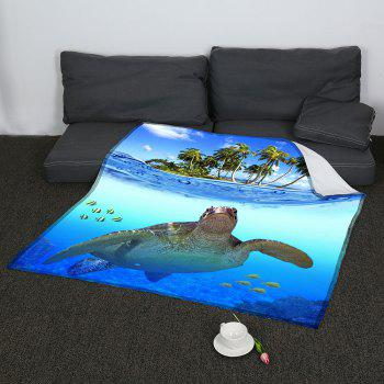 Sea Turtle Pattern Coral Fleece Sofa Blanket - BLUE W59 INCH * L79 INCH