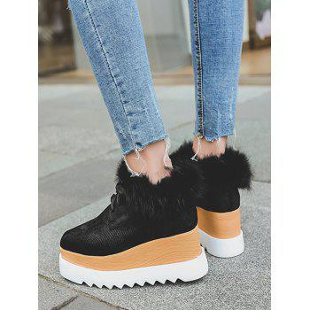 Faux Fur Trim Velvet Platform Shoes - BLACK 38