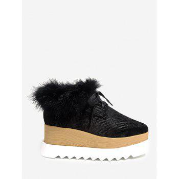 Faux Fur Trim Velvet Platform Shoes - BLACK 37