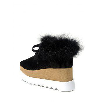 Faux Fur Trim Velvet Platform Shoes - BLACK BLACK