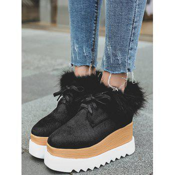 Faux Fur Trim Velvet Platform Shoes - BLACK 39