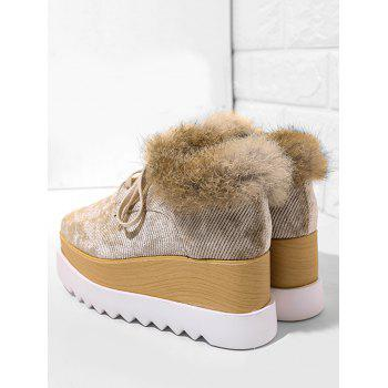 Faux Fur Trim Velvet Platform Shoes - BROWN 39