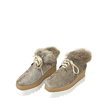 Chaussures à talon velours Faux Fur Trim - Brun 38