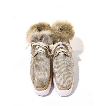 Chaussures à talon velours Faux Fur Trim - BRUN 36