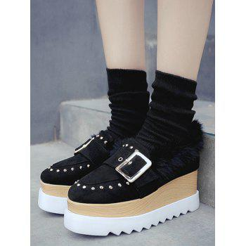 Buckle Strap Platform Shoes with Faux Fur Trim - BLACK 39