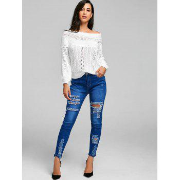 Distressed High Rise Denim Jeans - BLUE M