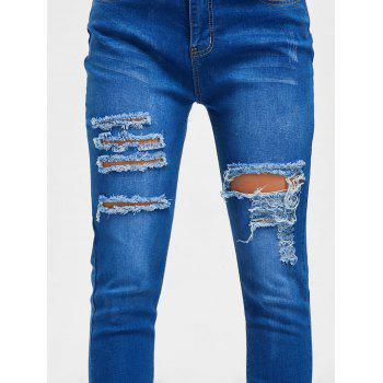 Distressed High Rise Denim Jeans - BLUE XL