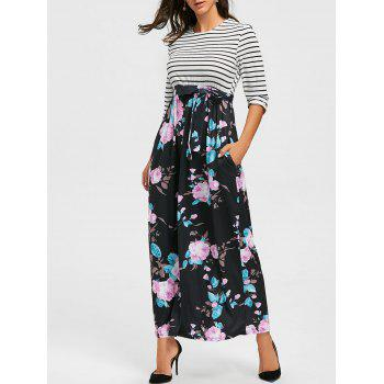 Striped and Floral Print Maxi Dress - BLACK S