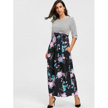 Striped and Floral Print Maxi Dress - S S