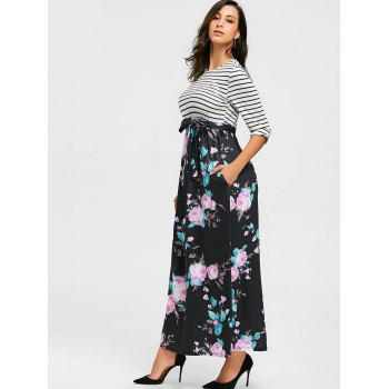 Striped and Floral Print Maxi Dress - BLACK M