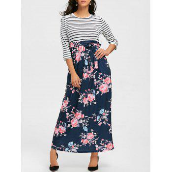 Striped and Floral Print Maxi Dress - PURPLISH BLUE XL