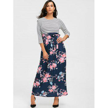 Striped and Floral Print Maxi Dress - L L