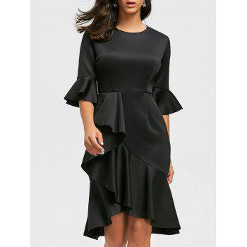 Ruffles Flare Long Sleeve Sheath Dress - BLACK S