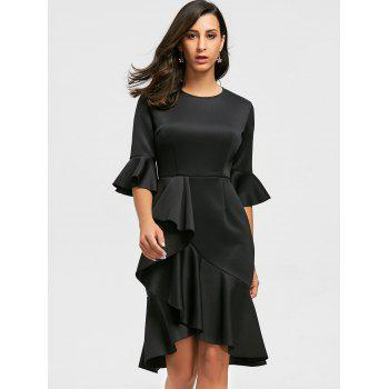 Ruffles Flare Long Sleeve Sheath Dress - S S