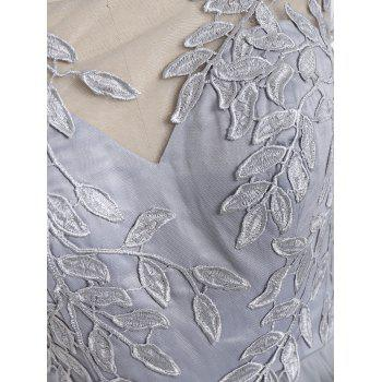 Leaf Embroidered Formal Evening Dress - XL XL
