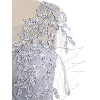 Leaf Embroidered Formal Evening Dress - GRAY GRAY