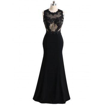 Floral Lace Mesh Panel Maxi Formal Evening Dress - BLACK XL