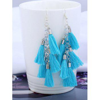 Tassels Rhinestone Embellished Pendant Earrings - BLUE