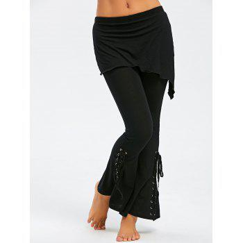 Lace Up Foldover Flare Pants - BLACK 2XL