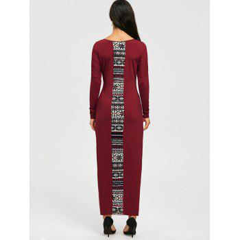 Tribal Print Long Sleeve Maxi Tee Dress - L L
