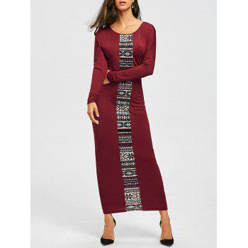 Tribal Print Long Sleeve Maxi Tee Dress - CLARET L