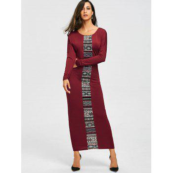 Tribal Print Long Sleeve Maxi Tee Dress - CLARET CLARET