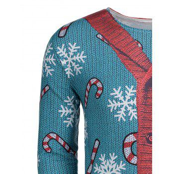Christmas Snowflake Sweater Cardigan Print T-shirt - GREEN 2XL