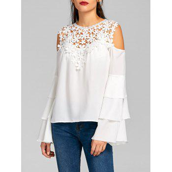 Sheer Cold Shoulder Layered Flare Sleeve Blouse - WHITE S