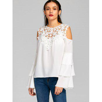 Sheer Cold Shoulder Layered Flare Sleeve Blouse - M M