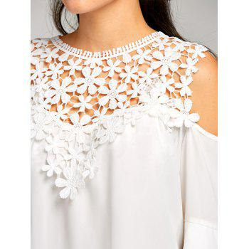 Sheer Cold Shoulder Layered Flare Sleeve Blouse - WHITE L