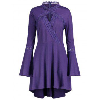 Cut Out Plus Size Long Sleeve Tunic Top - PURPLE PURPLE