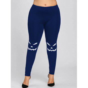 Halloween Plus Size Monochrome Leggings - BLUE 5XL