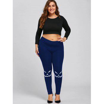 Halloween Plus Size Monochrome Leggings - BLUE 3XL