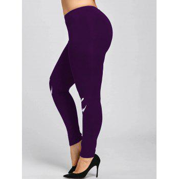 Halloween Plus Size Monochrome Leggings - PURPLE PURPLE