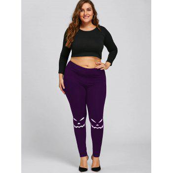 Halloween Plus Size Monochrome Leggings - PURPLE 4XL