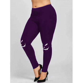 Halloween Plus Size Monochrome Leggings - PURPLE 3XL