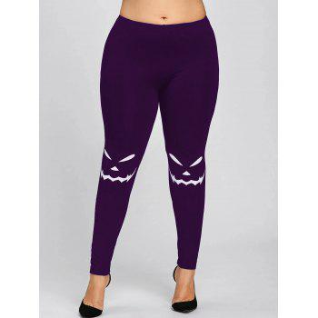 Halloween Plus Size Monochrome Leggings - PURPLE 2XL