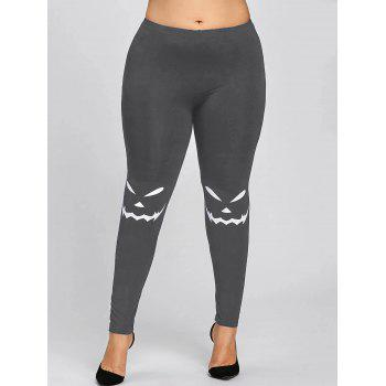 Halloween Plus Size Monochrome Leggings - GRAY 5XL