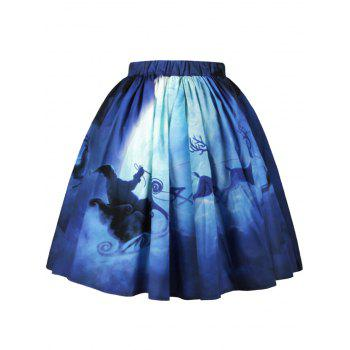 Christmas Santa Claus Elk Moon Print Skirt - L L