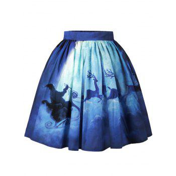Christmas Santa Claus Elk Moon Print Skirt - BLUE L