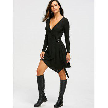 Ribbed Sweater Long Sleeve Wrap Dress - BLACK M