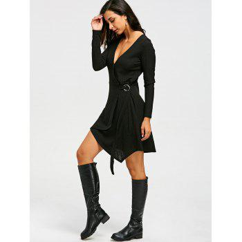Ribbed Sweater Long Sleeve Wrap Dress - BLACK L
