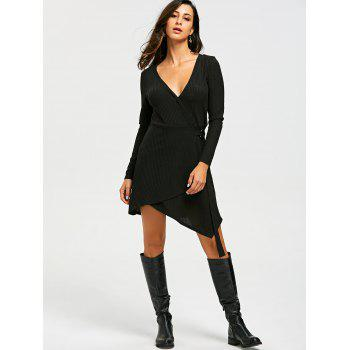 Ribbed Sweater Long Sleeve Wrap Dress - BLACK 2XL
