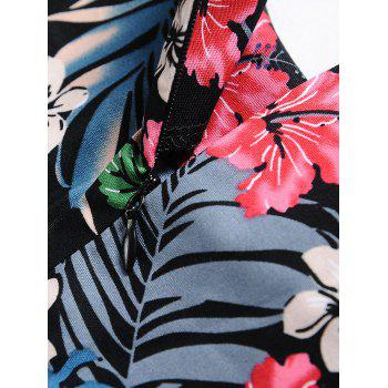 Vintage Tropical Print Skater Pin Up Dress - Floral 2XL