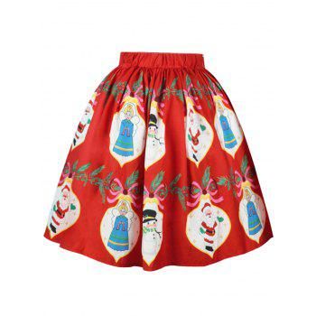 Christmas Snowman Santa Claus A Line Skirt - RED S
