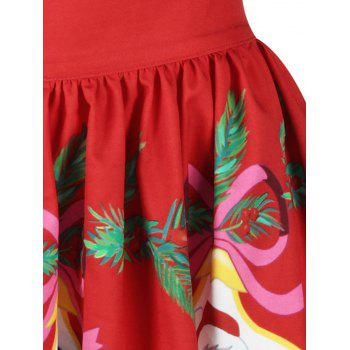 Christmas Snowman Santa Claus A Line Skirt - RED RED